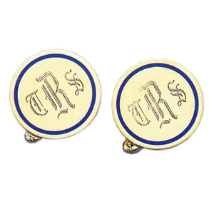 Round Polished Navy Epoxy 24k Gold Monogram Cufflinks