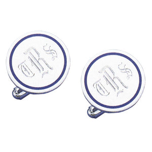 Round Polished Navy Epoxy Rhodium Monogram Cufflinks