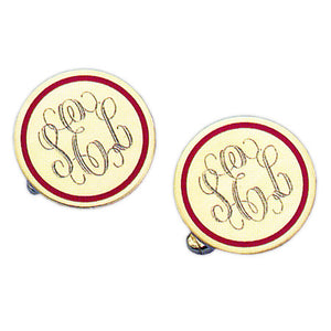Round Polished Red Epoxy 24k Gold Monogram Cufflinks