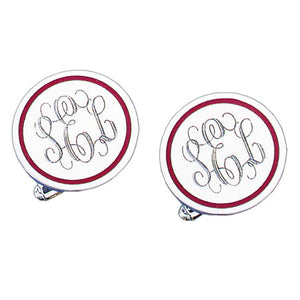 Round Polished Red Epoxy Rhodium Monogram Cufflinks