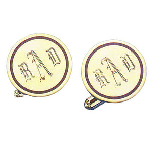 Round Polished Brown Epoxy 24k Gold Monogram Cufflinks