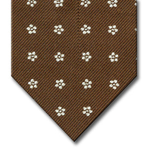 Brown with white Floral Pattern Tie