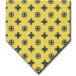 Gold with Medium Blue Floral Pattern Tie