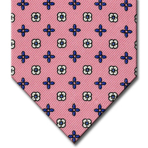 Pink with Medium Blue Floral Pattern Tie