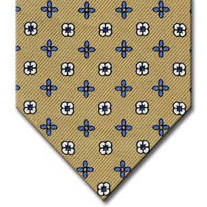 Tan with Medium Blue Floral Pattern Tie