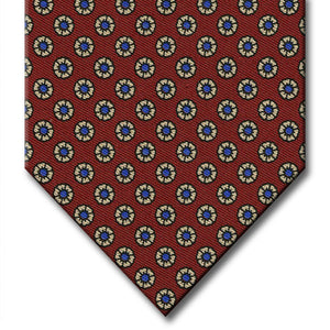 Burgundy with Tan Floral Pattern Tie