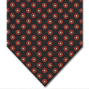 Black with Red Floral Pattern Tie