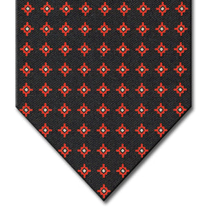 Black with Red Geometric Pattern Tie