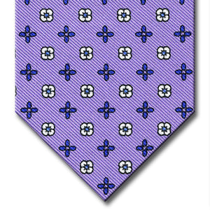 Lavender with Blue Floral Pattern Tie
