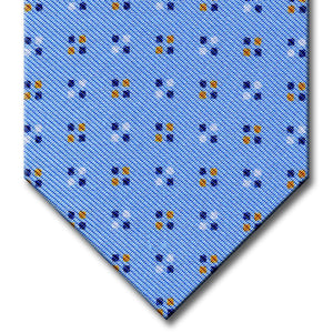 Blue with Gold Geometric Pattern Tie