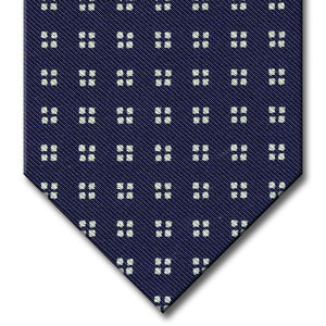 Navy with White Geometric Pattern Tie