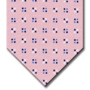 Pink with Blue Geometric Pattern Tie