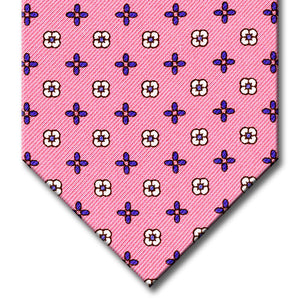 Pink with Blue Floral Pattern Tie