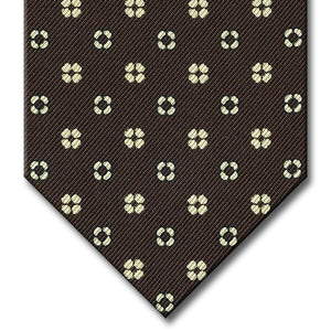 Brown with Tan Floral Pattern Tie