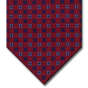 Burgundy with Navy and Light Blue Floral Pattern Tie