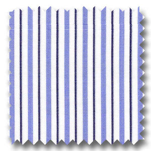 Blue and Navy Stripe 2Ply Broadcloth - Custom Dress Shirt