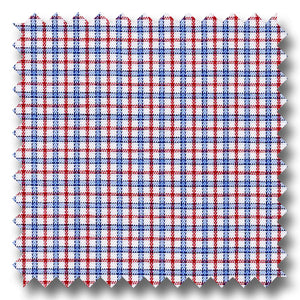 Blue and Red Check 170 2Ply Broadcloth - Custom Dress Shirt