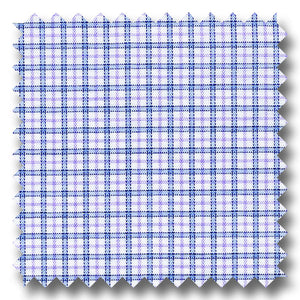 Blue and Plum Check 170 2Ply Broadcloth - Custom Dress Shirt