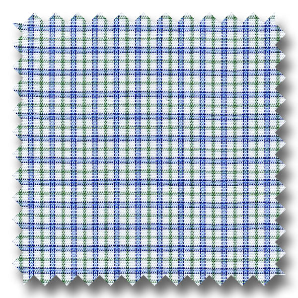 Navy and Green Check 170 2Ply Broadcloth - Custom Dress Shirt