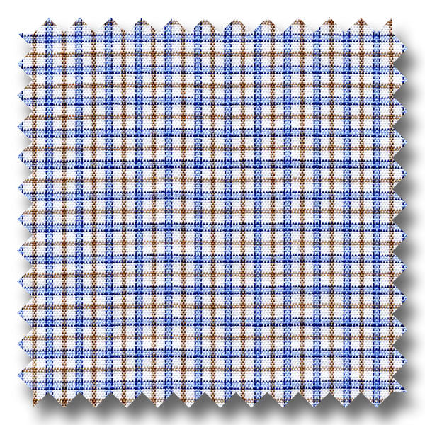 Blue and Brown Check 170 2Ply Broadcloth - Custom Dress Shirt