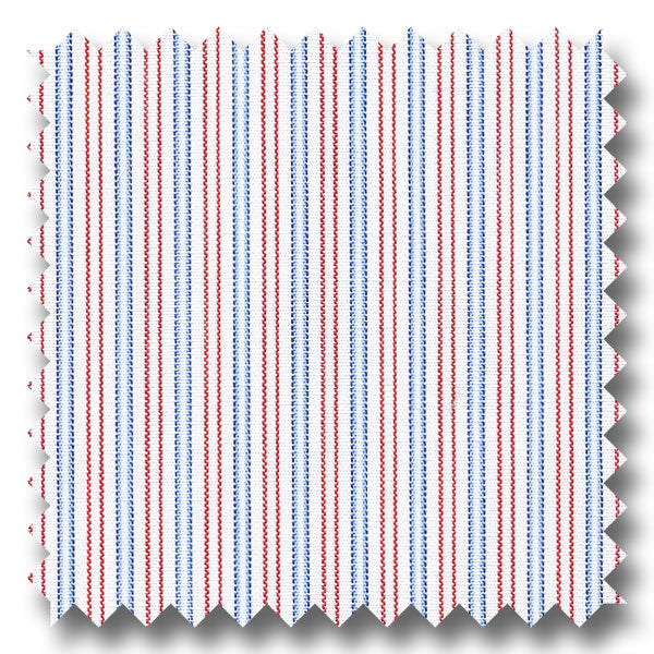 Blue and Red Stripe 200 2Ply Broadcloth - Custom Dress Shirt