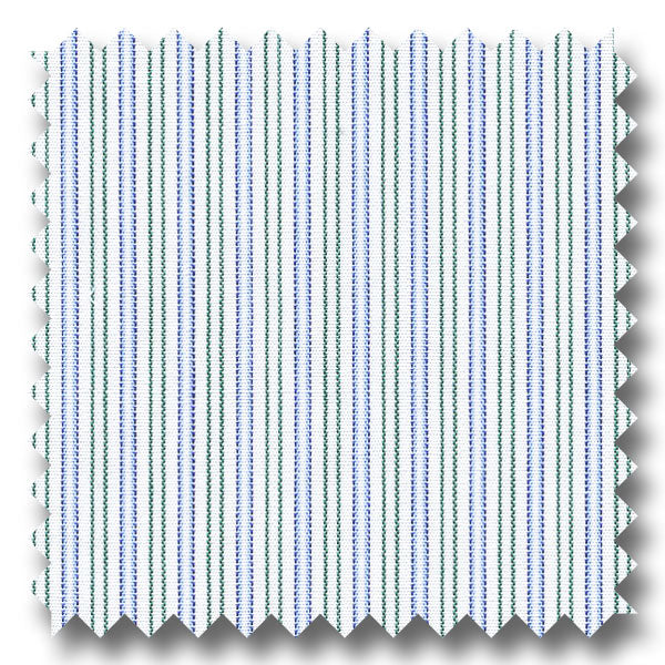Blue and Green Stripe 200 2Ply Broadcloth - Custom Dress Shirt