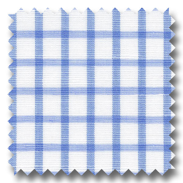 Light Blue Check 170 2Ply Linen - Custom Dress Shirt