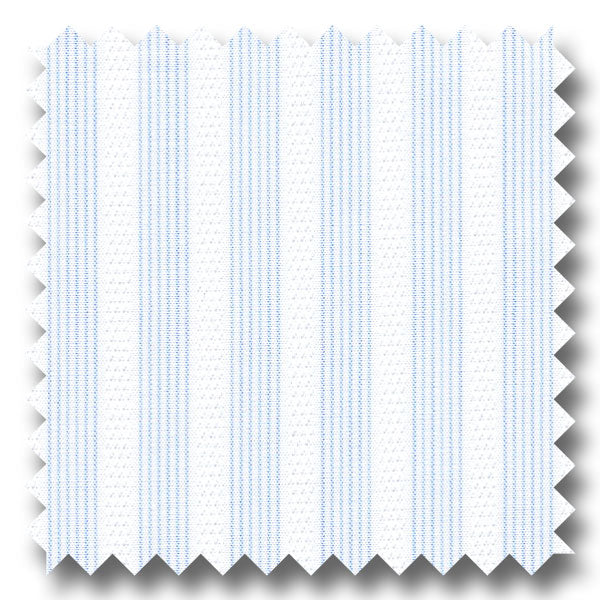 Light Blue and Raised White Stripe 170 2Ply Broadcloth - Custom Dress Shirt