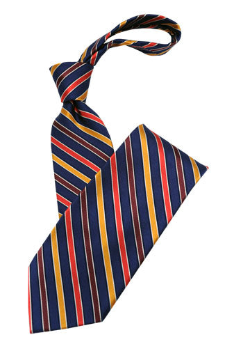 Navy Yellow and Red Stripe Tie