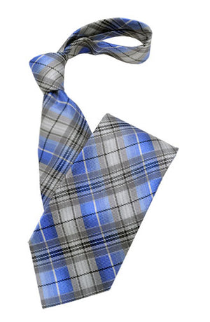 Blue and Silver Plaid Tie