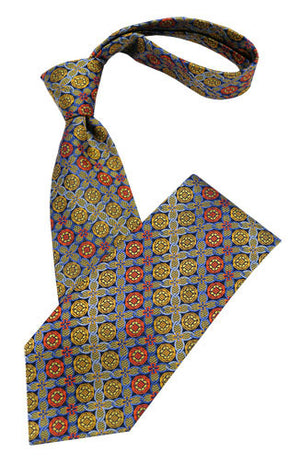 Red Blue and Yellow Medallion Tie