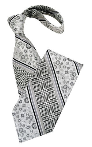 Black White and Silver Pattern Tie