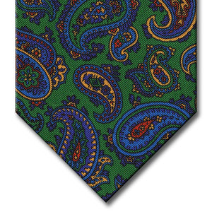 Green with Navy and Blue Paisley Tie