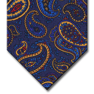 Navy with Blue and Gold Paisley Tie
