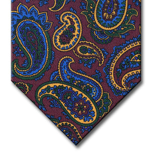 Burgundy with Blue and Gold Paisley Tie