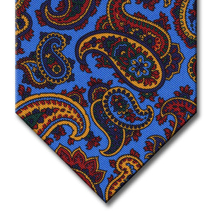 Light Blue with Red and Gold Paisley Tie