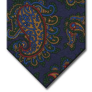 Navy with Green and Gold Paisley Tie