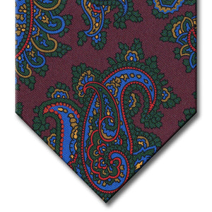 Burgundy with Blue and Green Paisley Tie