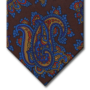Brown with Blue and Gold Paisley Tie