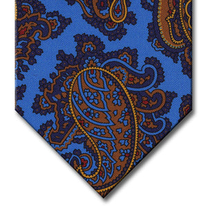 Light Blue with Navy and Gold Paisley Tie