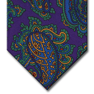 Purple with Green and Blue Paisley Tie