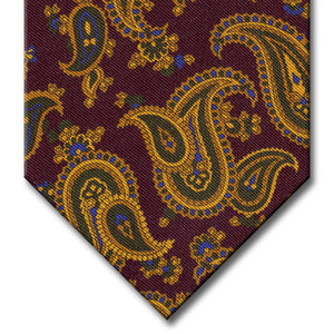 Burgundy with Gold and Green Paisley Tie