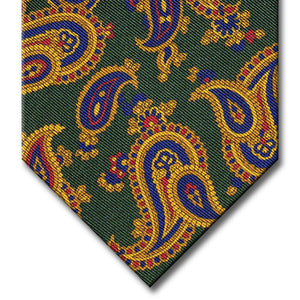 Green with Gold and Navy Paisley Tie