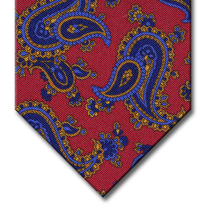 Red with Navy and Gold Paisley Tie