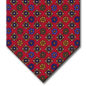 Red with Brown and Blue Floral Pattern Tie