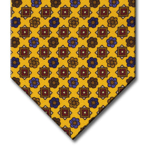 Gold with Brown and Red Floral Pattern Tie