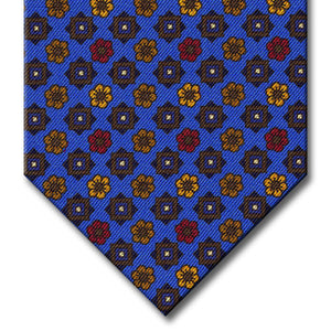 Blue with Brown and Gold Floral Pattern Tie