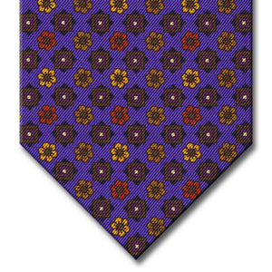 Purple with Brown and Gold Floral Pattern Tie