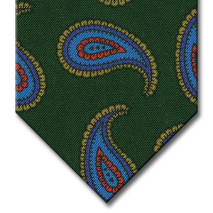 Green with Blue and Tan Paisley Tie