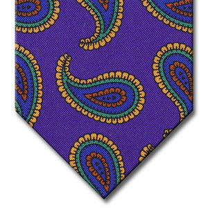 Purple with Blue and Gold Paisley Tie